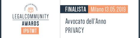Finalista avvocato dell'anno badge categoria Privacy